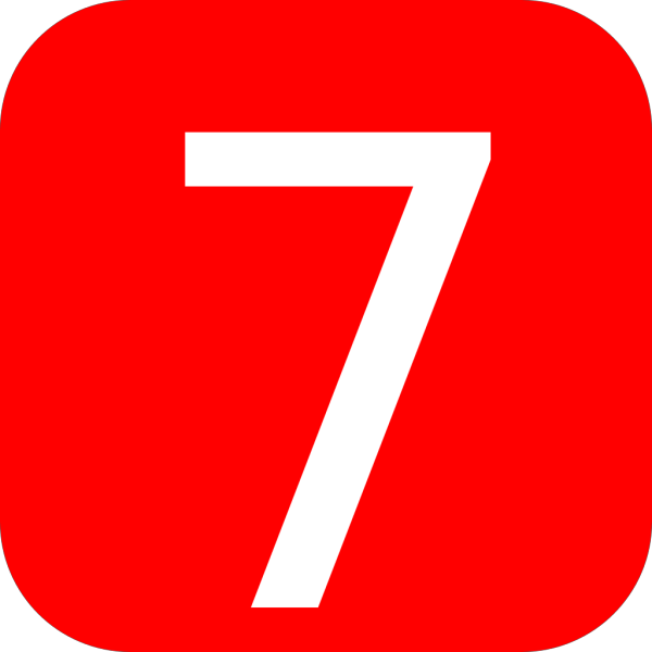 Red, Rounded, Square With Number 7 PNG Clip art