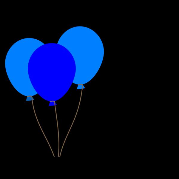 3 Blue Balloons PNG Clip art