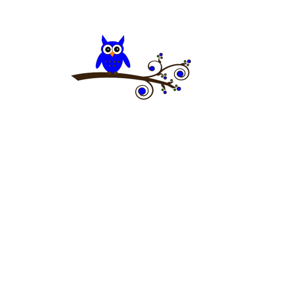 Blue Owl On Branch PNG Clip art