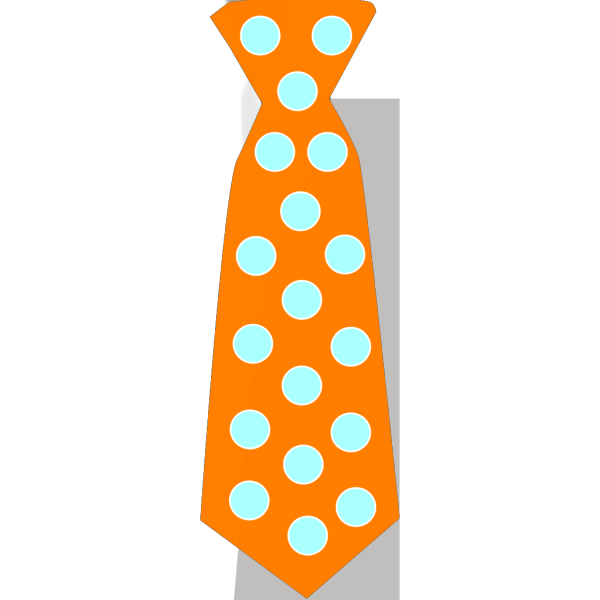 Orange Tie With Blue Polka Dots PNG Clip art