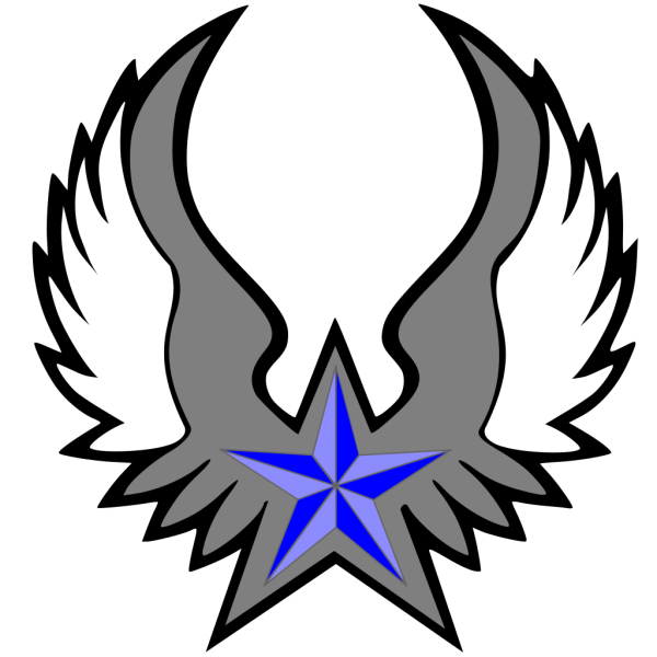 Blue Nautical Star Wings PNG Clip art