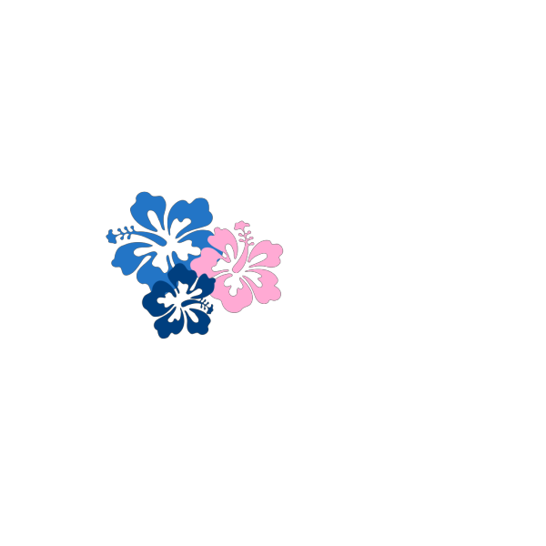 3 Blue Hibiscus PNG clipart