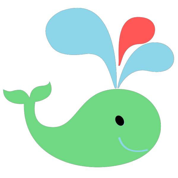 Green Red Blue Whale PNG Clip art