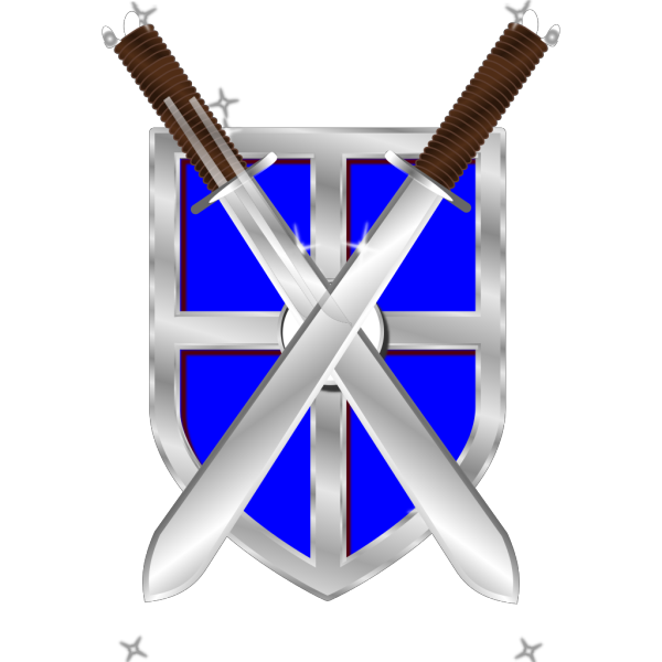 Swords And Blue Shield PNG Clip art