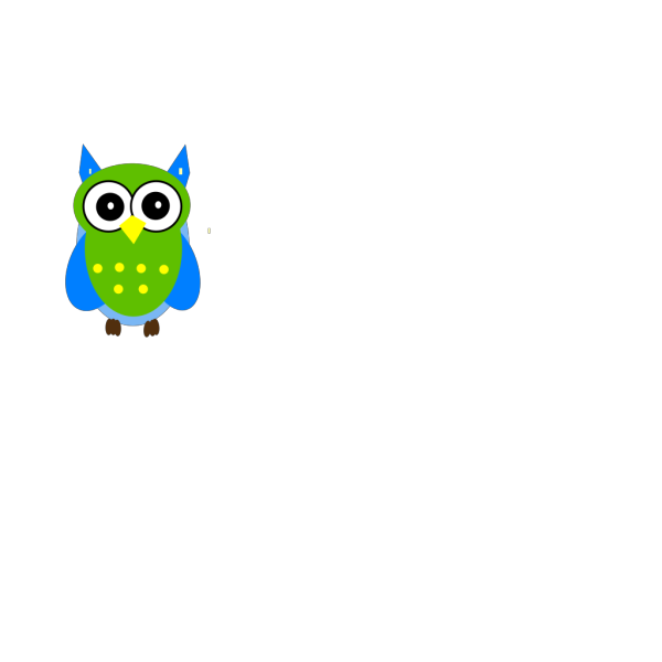 Green And Blue Owl PNG Clip art
