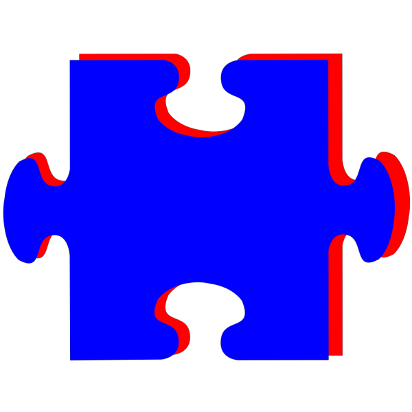 Puzzle Piece Blue With Red PNG clipart