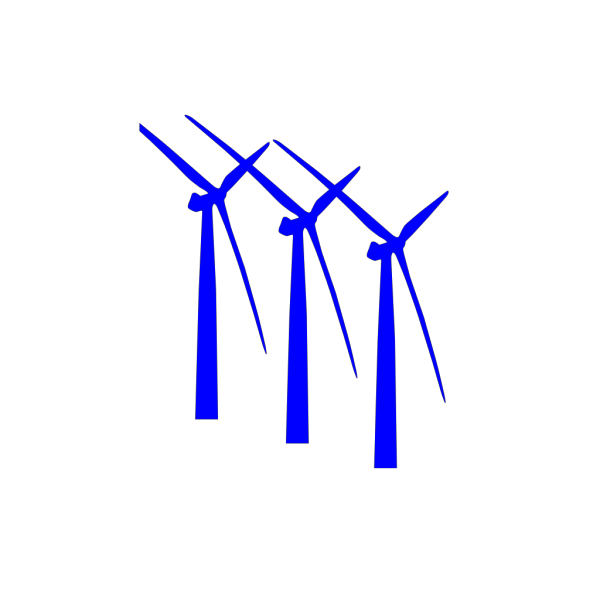 Three Turbines Dark Blue PNG clipart