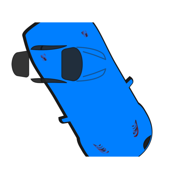 Blue Car - Top View - 300 PNG images