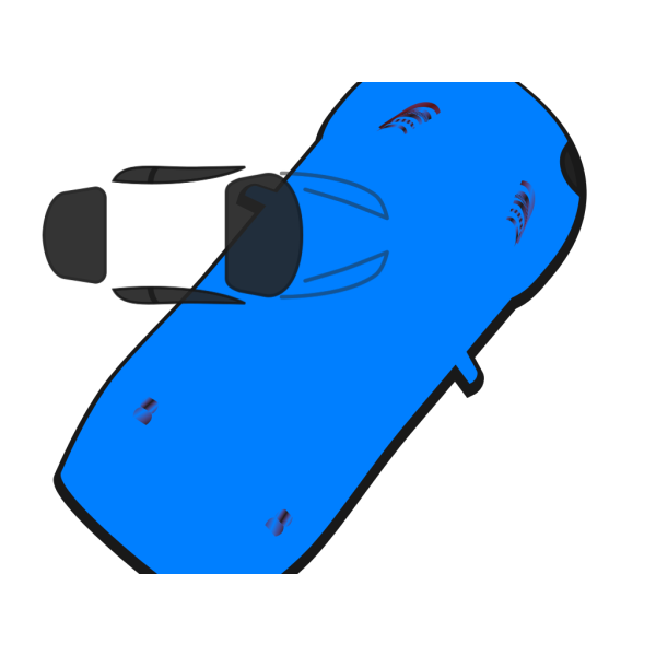 Blue Car - Top View - 50 PNG image