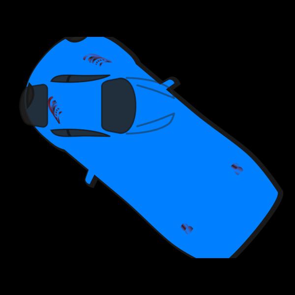 Blue Car - Top View - 140 PNG Clip art
