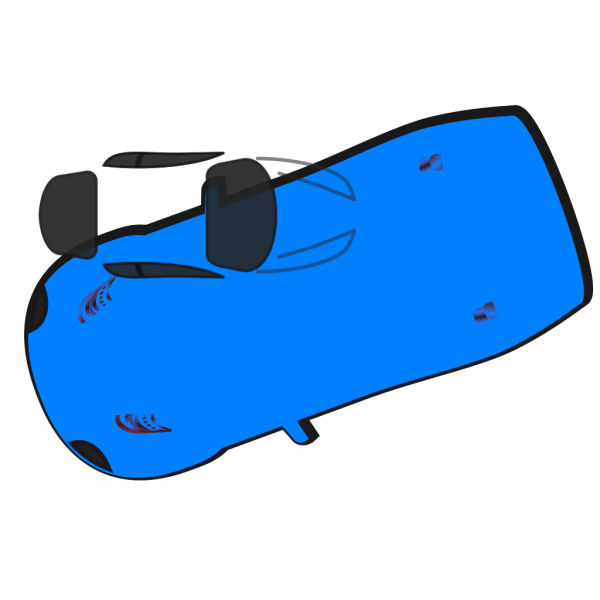 Blue Car - Top View - 200 PNG images