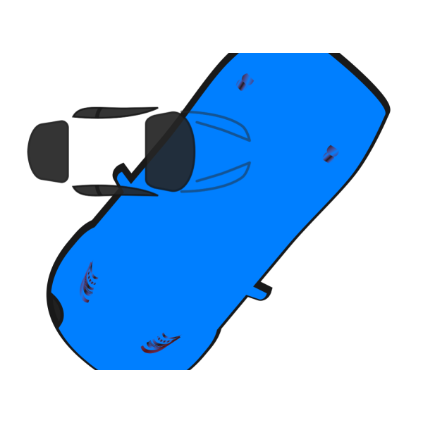 Blue Car - Top View - 230 PNG image