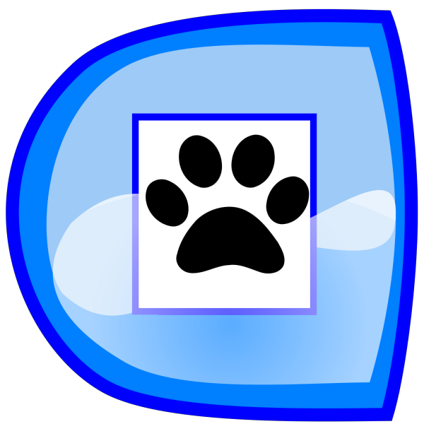 Blue Stop Button With Paws PNG Clip art