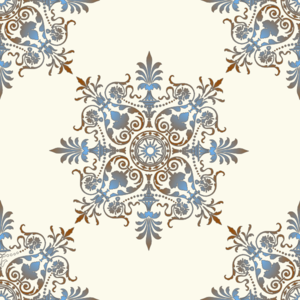 Blue & Brown Victorian Pattern PNG Clip art