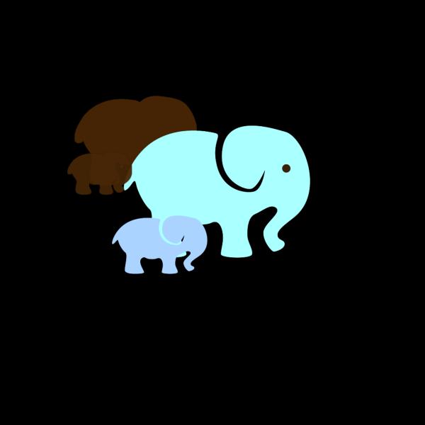 Blue Elephant Mom & Baby PNG Clip art