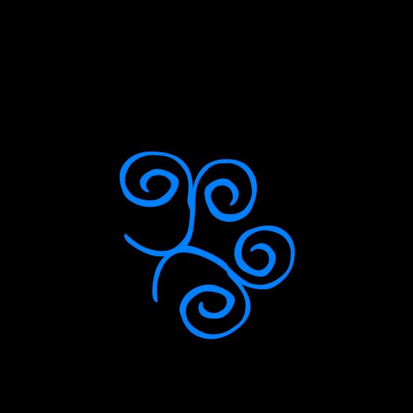 Blue Swirl Frame Top Right Corner PNG Clip art