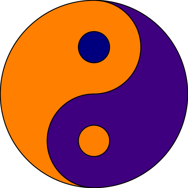 Orang/blue Ying Yang PNG Clip art