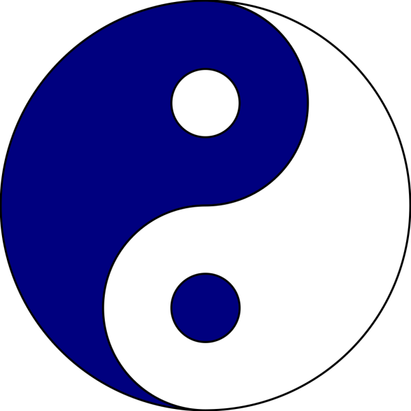 Blue/white Ying Yang PNG Clip art