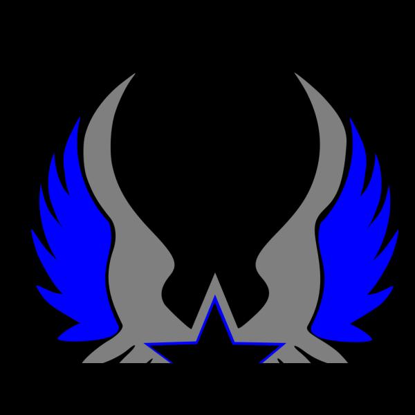 Blue Grey Star Emblem PNG Clip art
