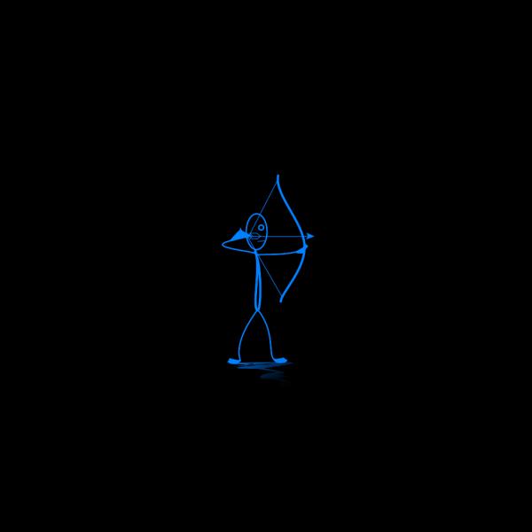 Blue Stickman Shooting Arrow PNG Clip art