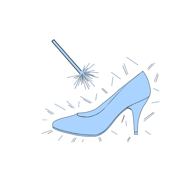 Blue Slipper With Wand PNG Clip art