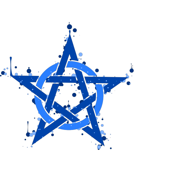 Pentagramme Taches Bleues [right-side Up] PNG Clip art