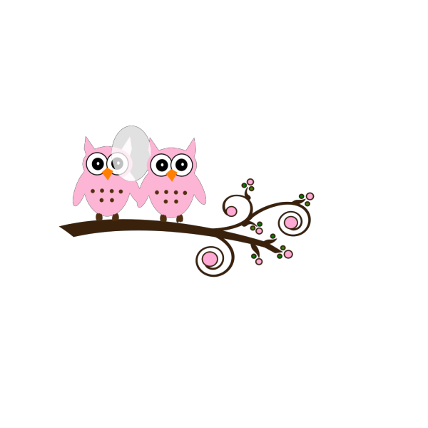 Twin Pink Blue Owls On Branch PNG Clip art
