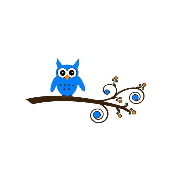 Turquoise Owl On Branch PNG Clip art