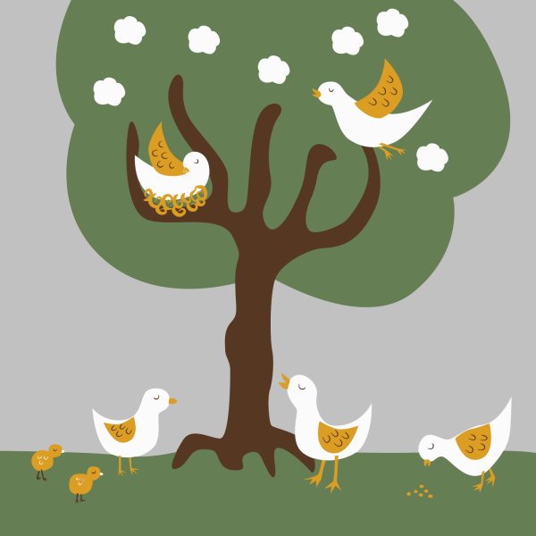 Love Birds On A Branch PNG Clip art