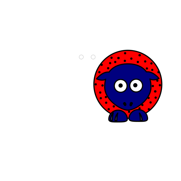 Sheep - Red With Black Polka-dots And Blue Feet PNG Clip art