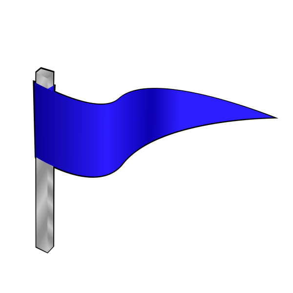 Simple Blue Flag On A Pole PNG Clip art