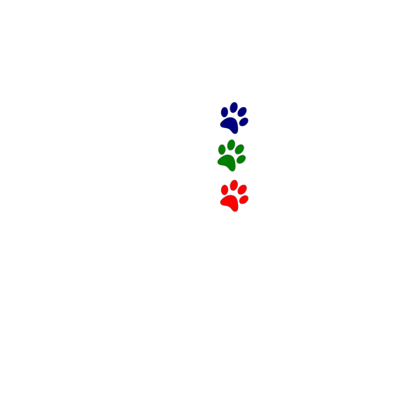 Paws Red Blue Green Straight PNG Clip art
