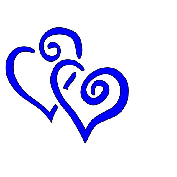 Royal Blue Intertwined Hearts PNG Clip art