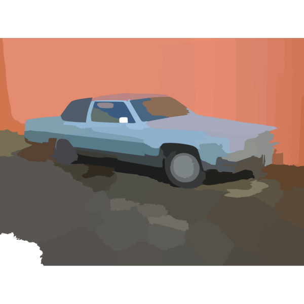 Old Blue Cadillac In Richmond Vector PNG Clip art