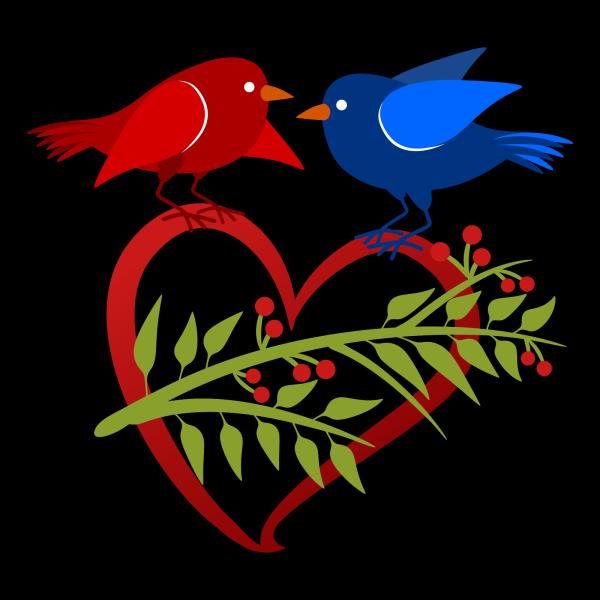 Blue Birds On A Branch PNG Clip art