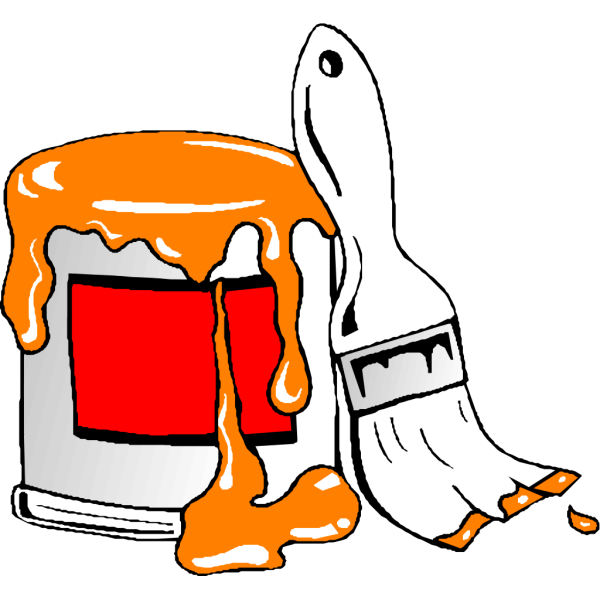 Paint Tin Can And Brush PNG Clip art
