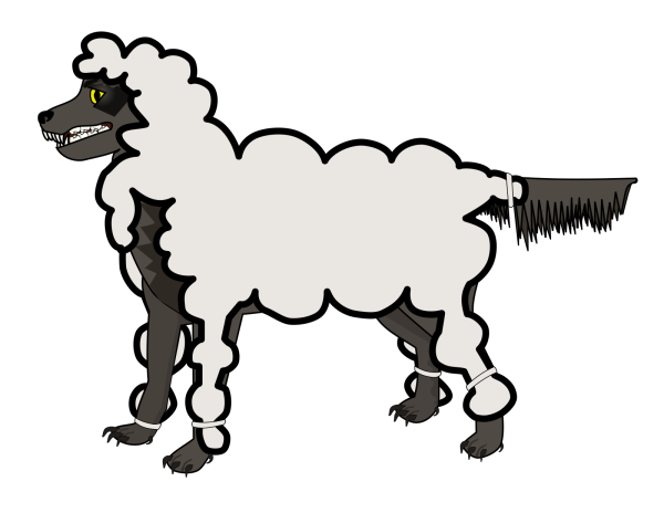 Sheep 2 Toned Blues Looking Up To Left PNG Clip art