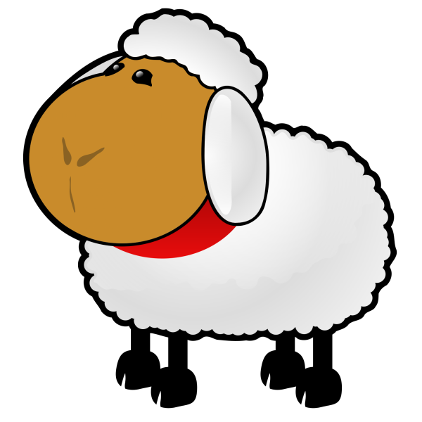 Sheep Red Purple Blue Toned Looking Straight PNG Clip art