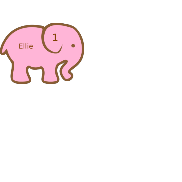 Personalized Birthday Elephant- A PNG images
