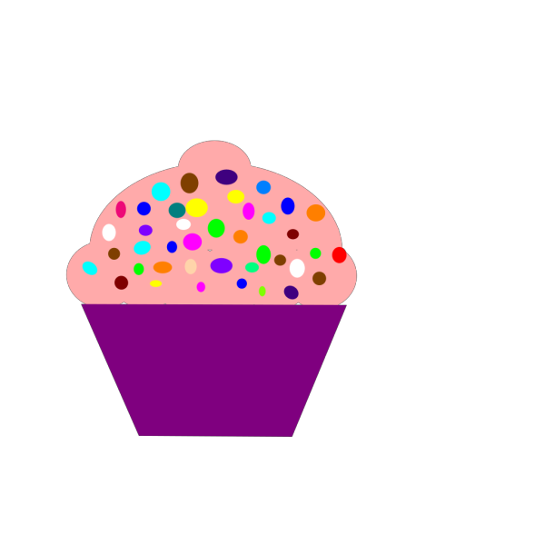 Cupcake Pink, Blue Frosting PNG Clip art
