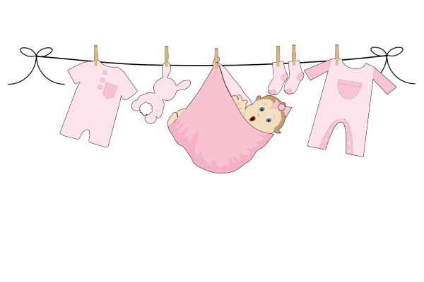 Pink Yellow Green Baby Blue Bunting PNG Clip art