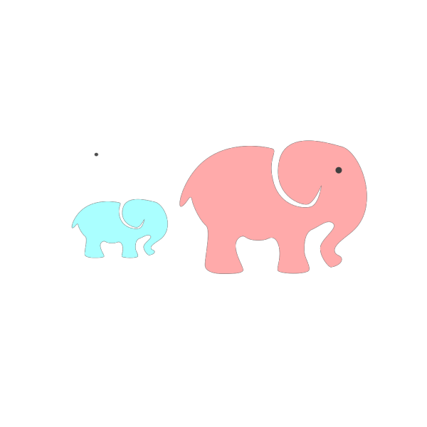 Grey Elephant Mom & Baby/pink And Blue 2 PNG Clip art