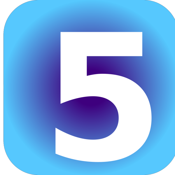 Number 5 Blue Background PNG icons