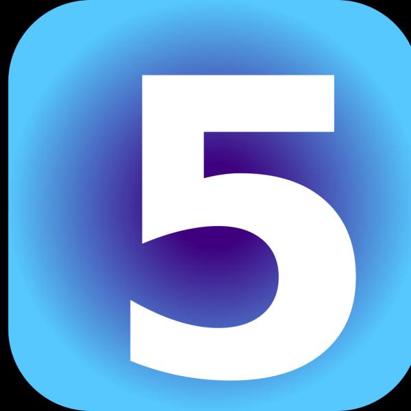 Number 5 Blue Background PNG image