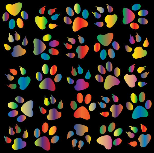 Blue Paw Outline Pattern PNG Clip art