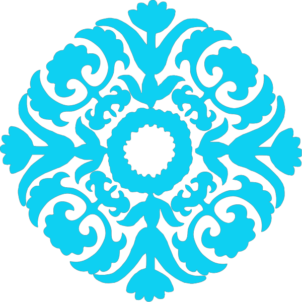 Damask Flourish Pastel Blue Green PNG Clip art