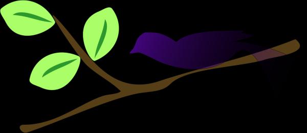 Lovebirds On A Branch Blue PNG Clip art