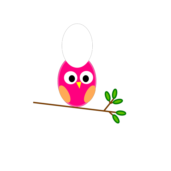 Parents Pink Owl On Branch  PNG clipart