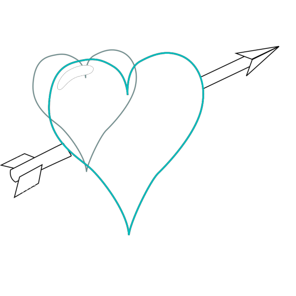 Blue Heart Line PNG Clip art