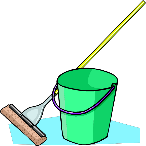 Mop And Bucket Blue PNG Clip art